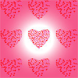 Nine Heart of Hearts on white-pink background Royalty Free Stock Photography