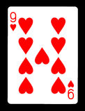 Nine of hearts playing card, royalty free stock images