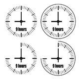 Nine Hours Clock on white background. Nine o`clock. Four options Stock Photos