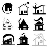Nine houses set vector - architecture design concept Royalty Free Stock Photos