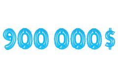 Nine hundred thousand dollars, blue color Royalty Free Stock Photo