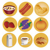 Nine icons for breakfast Stock Images