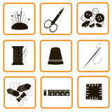 Nine icons different adaptations for sewing and an embroidery Stock Photos