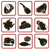 Nine icons meat different Royalty Free Stock Photography