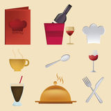 Nine icons for menu Stock Photos