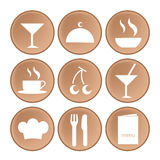 Nine icons for menu Stock Images