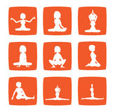 Nine icons set of girl practicing yoga postures Royalty Free Stock Photography