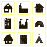 Nine icons silhouettes of houses Royalty Free Stock Photography