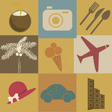 Nine icons of summer actions Stock Photos