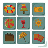 Nine icons of summer Stock Photography