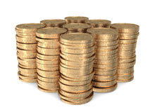 Nine identical stacks of dollar coins Stock Image