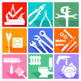 Nine illustrations of craftsman's tools Royalty Free Stock Images
