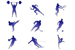 Nine kinds of sport: tennis, football, hockey, etc. stock illustration