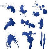 Nine Ink and Paint Splatters Royalty Free Stock Photo