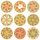 Nine isolated pizzas Stock Image