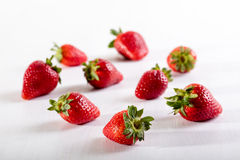 Nine juicy strawberry on the table Royalty Free Stock Image