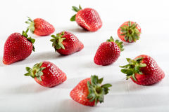 Nine juicy strawberry on the table Royalty Free Stock Photography
