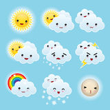 Nine kid kawaii weather icons Royalty Free Stock Image