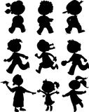 Nine kids - black icon set royalty free stock image