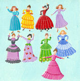 Nine ladies dancing. Acrylic illustration of the twelve days of Christmas - ninth day of Christmas - nine ladies dancing Royalty Free Stock Photo