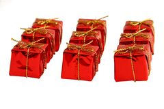 Nine little red boxes. Isolated on white Stock Photography