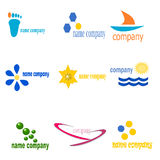 Nine logos. This illustration offers a choice of nine logos to represent a company, agency,or a line of products. The logos were created to attract attention and Royalty Free Illustration