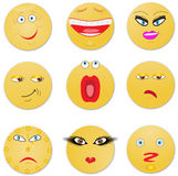 Nine looks from sad to the cheerful. Vector illustration Royalty Free Stock Image