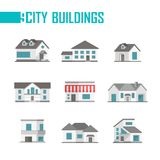 Nine low-storey city buildings set of icons - vector illustration. On white background. Cottages with nice facades. Various shapes of roofs and windows. Grey vector illustration