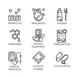 Nine medical and health care icons in outline style. Set of nine icons in outline style. Medical care, health and hygiene concept. Line simple black logo for Stock Photo