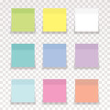 Nine memo. Papers in different ordinary pastel colors wih transparent shadow vector illustration
