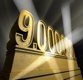 Nine million. Number nine million in golden letters on a golden pedestal stock illustration
