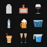 Nine modern flat bar icons Royalty Free Stock Photo