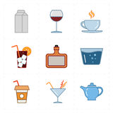 Nine modern flat bar icons. This is a vector illustration of nine modern flat bar icons Royalty Free Stock Photo