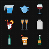 Nine modern flat bar icons. This is a vector illustration of nine modern flat bar icons Stock Photo