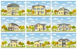 Nine modern houses Stock Photo