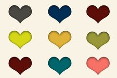 Nine multicolored hearts in white background, paper cut stock illustration