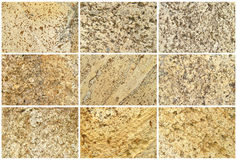 Nine Natural Limestone Background or textures Royalty Free Stock Photography