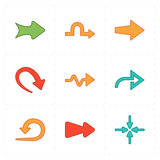 Nine new simple arrows. This is a vector illustration of nine new simple arrows royalty free illustration