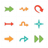 Nine new simple arrows. This is a vector illustration of nine new simple arrows stock illustration