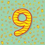 Nine number icon design Stock Image