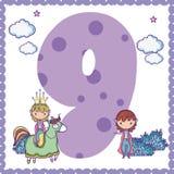 Nine number cartoon. Nine number magic world cartoon vector illustration graphic design Stock Photos