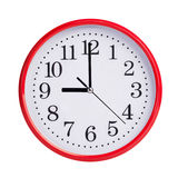 Nine o'clock on a round dial Royalty Free Stock Image