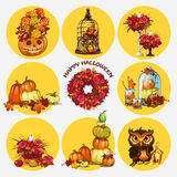 Nine  objects, autumn and festive mood. A set of nine  objects, autumn and festive mood Royalty Free Stock Photo