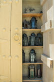 Nine old ancient arabic designed lighters on the shelf in cabnet Royalty Free Stock Image