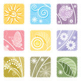 Nine in One floral label Royalty Free Stock Image