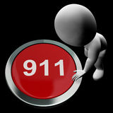 Nine One One Button Shows 911 Emergency Or Crisis Royalty Free Stock Photos