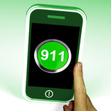 Nine One On Phone Shows Call Emergency Help Rescue 911 Stock Photos