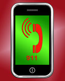 Nine One On Phone Shows Call Emergency Help. Nine One On Phone Showing Call Emergency Help Rescue 911 Stock Images