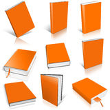 Nine orange empty book template Stock Images