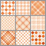 Nine Orange Plaids. An illustration of a set of nine blue plaid patterns Stock Image